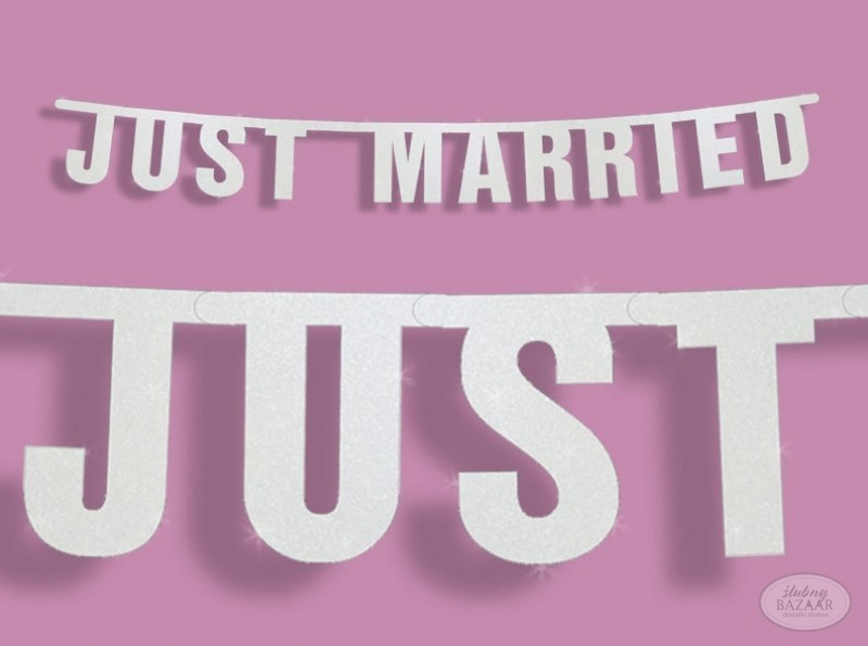 Baner Just Married biały